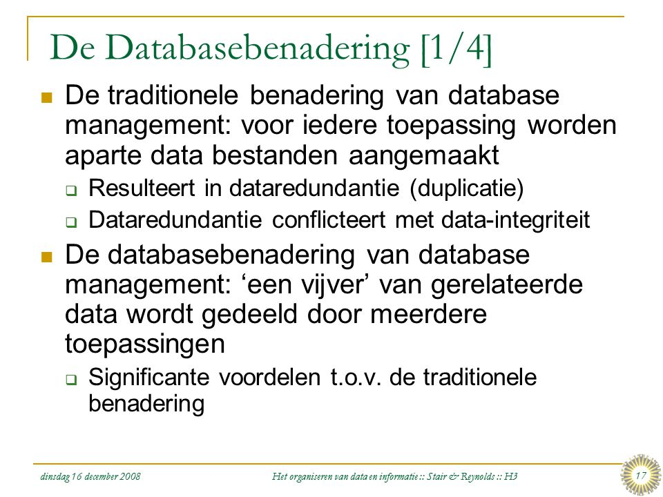 De Databasebenadering [1/4]